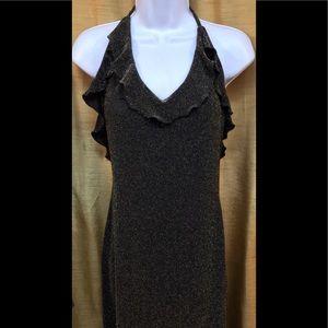 Betsey Johnson Ruffled Halter Black/Gold Dress S